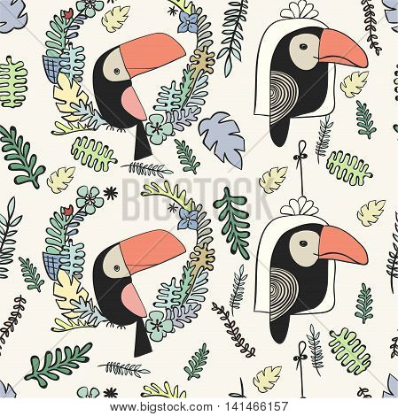 Seamless pattern . Toucan and tropical plants . Vector