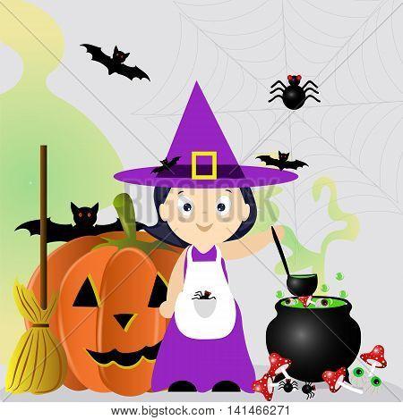 Halloween, witch, cauldron, pumpkin Jack, web , spider, the preparation of potions, vector illustration