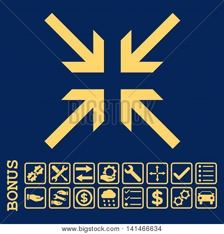 Collide Arrows icon with bonus pictograms. Vector style is flat iconic symbol, yellow color, blue background. Bonus style is square rounded frames with symbols inside.