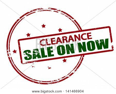Rubber stamp with text clearance sale on now inside vector illustration