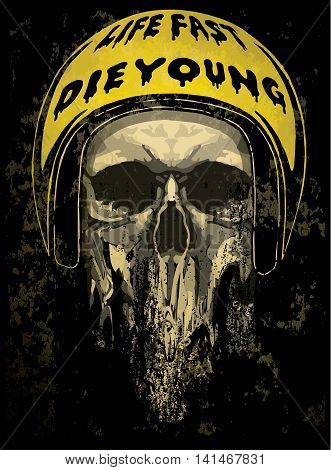 Tee skull motorcycle graphic design fashion design