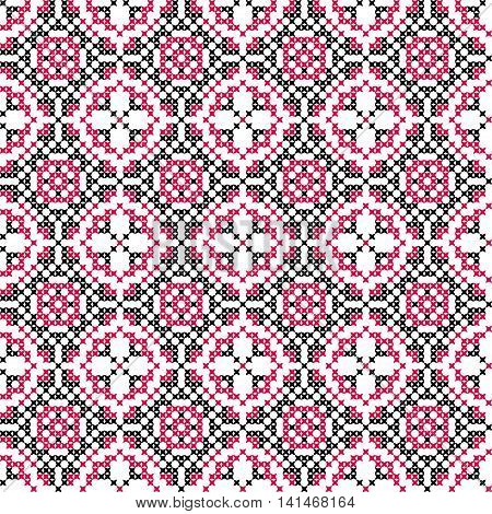 Seamless embroidered texture of abstract flat patterns in pink black colors cross-stitch ornament for cloth