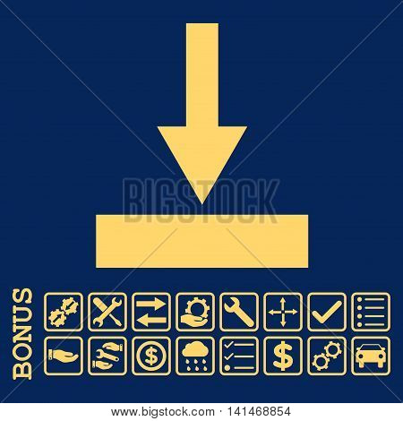Move Bottom icon with bonus pictograms. Vector style is flat iconic symbol, yellow color, blue background. Bonus style is square rounded frames with symbols inside.