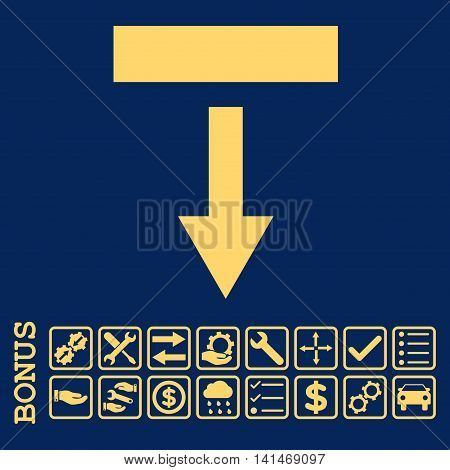 Pull Down icon with bonus pictograms. Vector style is flat iconic symbol, yellow color, blue background. Bonus style is square rounded frames with symbols inside.