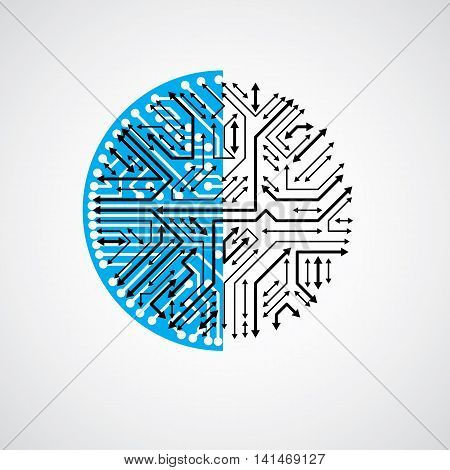 Futuristic Cybernetic Scheme With Multidirectional Arrows., Vector Motherboard Blue Illustration. Ci