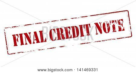 Rubber stamp with text final credit note inside vector illustration