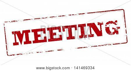 Rubber stamp with word meeting inside vector illustration
