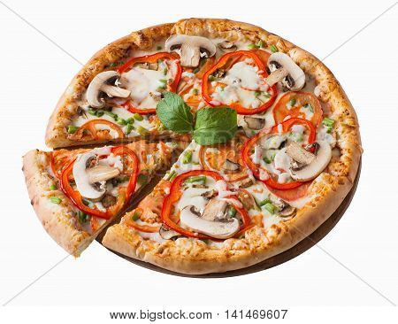 Tasty pizza with mushrooms and vegetables isolated on white