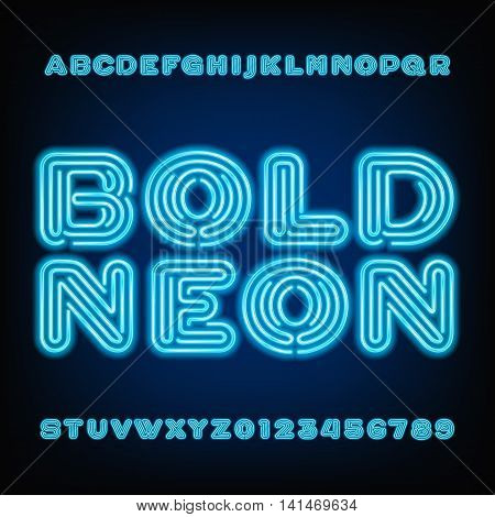 Neon tube alphabet font. Bold type letters and numbers on a dark background. Vector typeface for your design.