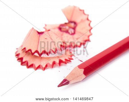 Colour pencils set isolated on a white background, color pencils shavings
