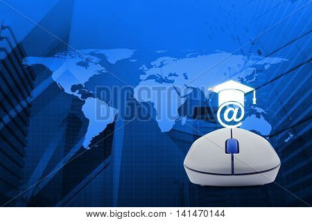 Wireless computer mouse with e-learning icon over map and city tower background Study online concept Elements of this image furnished by NASA