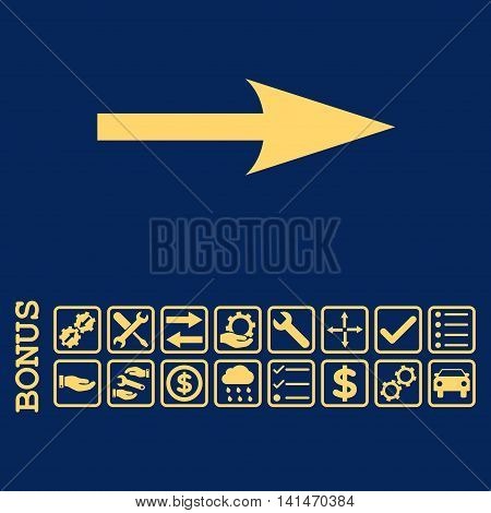 Sharp Arrow Right icon with bonus pictograms. Vector style is flat iconic symbol, yellow color, blue background. Bonus style is square rounded frames with symbols inside.