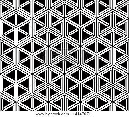 Monochrome abstract interweave geometric seamless pattern with hexagons