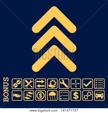 Triple Arrowhead Up icon with bonus pictograms. Vector style is flat iconic symbol, yellow color, blue background. Bonus style is square rounded frames with symbols inside.