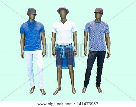 Three male mannequins in summer clothes over green background. No brand names or copyright objects.