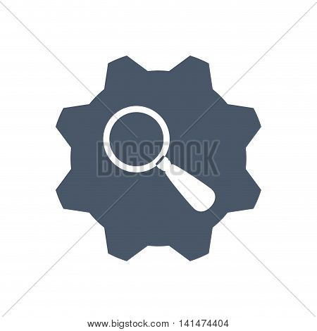 lupe gear search magnifying glass icon. Isolated and flat illustration. Vector graphic