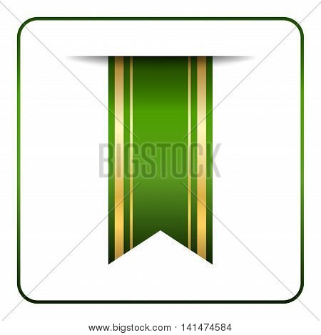 Green and gold bookmark banner. Vertical book mark isolated on white background. Color tag label. Flag symbol sign. Design element blank. Empty sticker for sale. Template icon. Vector illustration