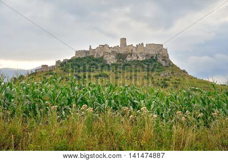 Beautiful ruins castle on the hill. Spissky Hrad castle in Slovakia.