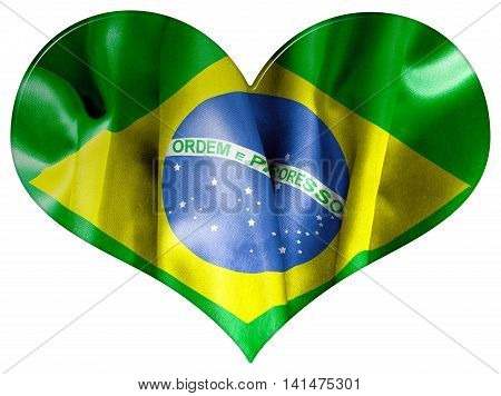 Brazil flag 3D illustration textured  heart shape with a bevel effect on an isolated white background with a clipping path