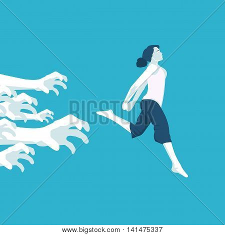 girl running away from problems in vector format eps10