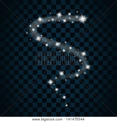 Shine star with glitter and sparkle icon. Tail comet stardust. Effect twinkle glare element sign graphic light. Transparent design dark background. White template glow shine. Vector illustration