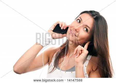 Woman Talking Mobile Phone Listening Music