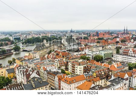 Panorama Wroclaw On A Cloudy Day.