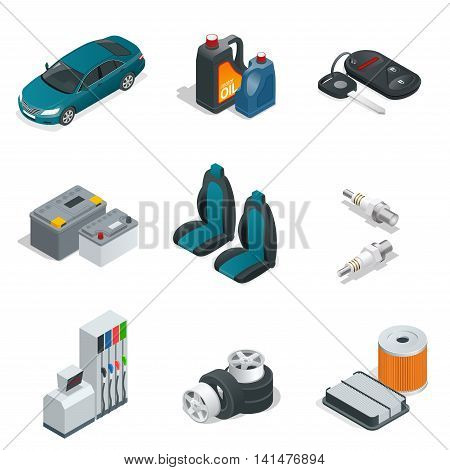 Car isometric elements. Car service maintenance icon. Flat 3d vector illustration