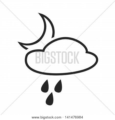 Scatteredor hail shower. Rain at night. Weather forecast icon. Editable element. Creative item. Flat design. Part of series of various symbols and signs for climate changes diagnostic. Vector