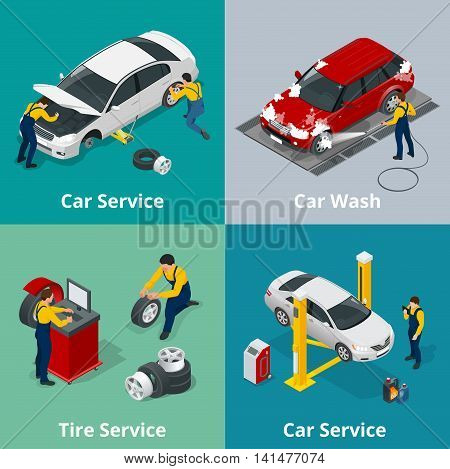 Flat horizontal banners with scenes workers in Car repair service center, Tire service, car wash and car repair mechanics. Vector isometric banners for web
