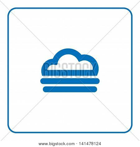 1 of 25 signs forecast weather. Fog icon. Web cartoon sign isolated on white background. Symbol nature light cloudy. Meteorology information. Blue silhouette. Flat style design. Vector illustration