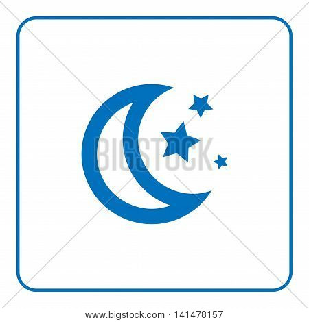 1 of 25 signs forecast weather. Web cartoon sign isolated on white background. Symbol of nature night. Meteorology information. Blue silhouette. Flat style design graphic. Vector illustration