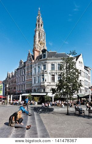 Antwerp, Belgium - August 5 2016: Historic buildings and the Cathedral of Our Lady in Antwerpen Belgium (Onze-Lieve-Vrouwe cathedraal)