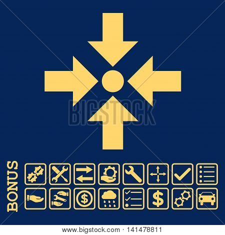 Shrink Arrows icon with bonus pictograms. Glyph style is flat iconic symbol, yellow color, blue background. Bonus style is square rounded frames with symbols inside.