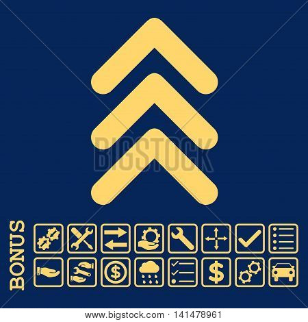 Triple Arrowhead Up icon with bonus pictograms. Glyph style is flat iconic symbol, yellow color, blue background. Bonus style is square rounded frames with symbols inside.