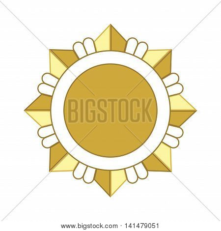 Medal award icon. Gold star order isolated on white background. Medallion design element. Golden emblem. Blank for certificate winner decoration. Symbol of first success win. Vector illustration