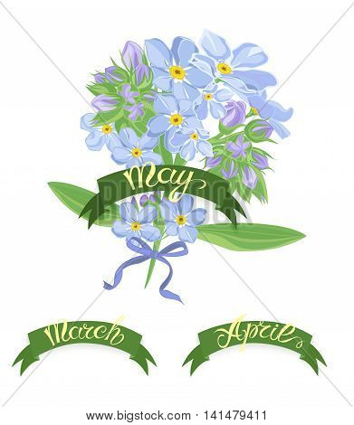 Set labels with hand-drawn lettering, months names of season year, Beautiful bouquet of forget-me-not flowers. Vector illustration.