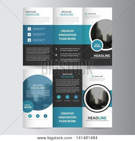 Blue circle business trifold Leaflet Brochure Flyer report template vector minimal flat design set abstract three fold presentation layout templates a4 size