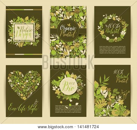 Set of six nature vector banners with floral elements and place for text and calligraphic inscriptions.