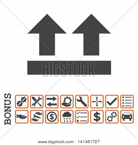 Bring Up icon with bonus pictograms. Glyph style is flat iconic symbol, orange and gray colors, white background. Bonus style is bicolor square rounded frames with symbols inside.