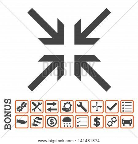 Collide Arrows icon with bonus pictograms. Glyph style is flat iconic symbol, orange and gray colors, white background. Bonus style is bicolor square rounded frames with symbols inside.