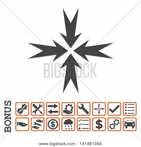 Compression Arrows icon with bonus pictograms. Glyph style is flat iconic symbol, orange and gray colors, white background. Bonus style is bicolor square rounded frames with symbols inside.