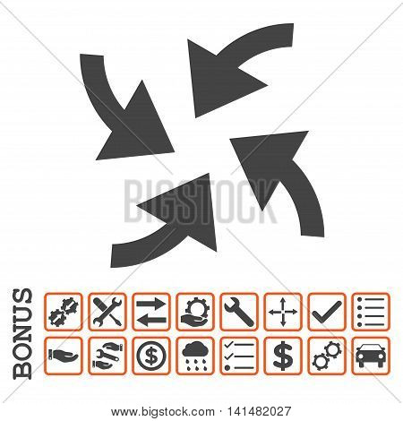 Cyclone Arrows icon with bonus pictograms. Glyph style is flat iconic symbol, orange and gray colors, white background. Bonus style is bicolor square rounded frames with symbols inside.