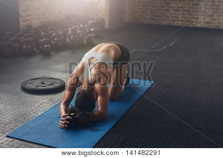 Fit Young Woman Doing Pilates Workout At The Gym