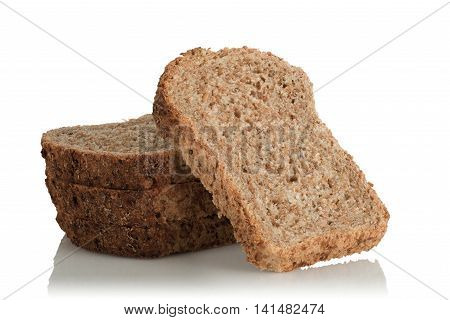 sliced bread wholemeal with seeds on white background