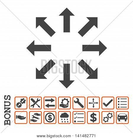 Explode Arrows icon with bonus pictograms. Glyph style is flat iconic symbol, orange and gray colors, white background. Bonus style is bicolor square rounded frames with symbols inside.