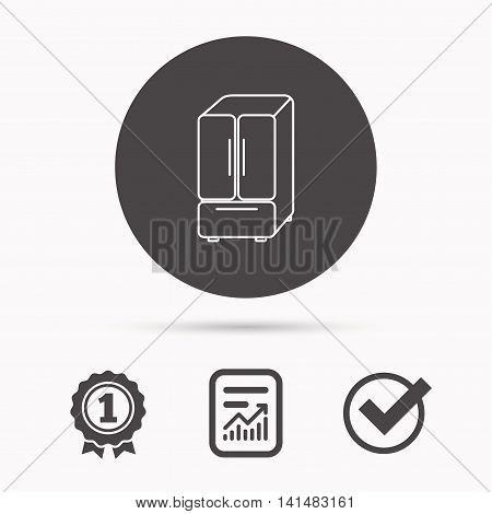 American fridge icon. Refrigerator sign. Report document, winner award and tick. Round circle button with icon. Vector