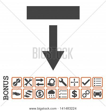 Pull Down icon with bonus pictograms. Glyph style is flat iconic symbol, orange and gray colors, white background. Bonus style is bicolor square rounded frames with symbols inside.