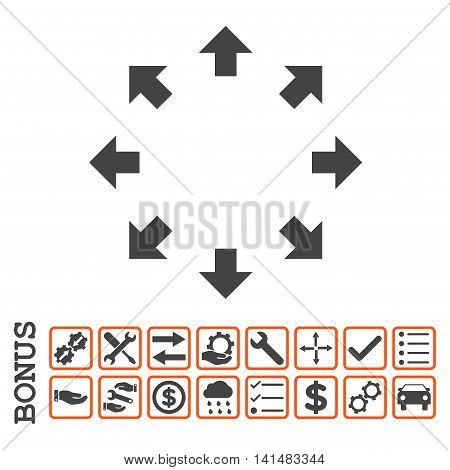 Radial Arrows icon with bonus pictograms. Glyph style is flat iconic symbol, orange and gray colors, white background. Bonus style is bicolor square rounded frames with symbols inside.