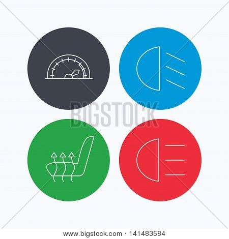 Speedometer, passing fog lights and heated seat icons. High beams linear sign. Linear icons on colored buttons. Flat web symbols. Vector